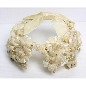 Vintage 1950s Beaded Floral Head Piece Bridal Bow